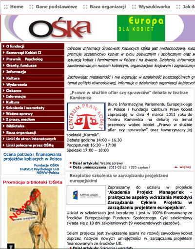 Strona Fundacji OŚKa